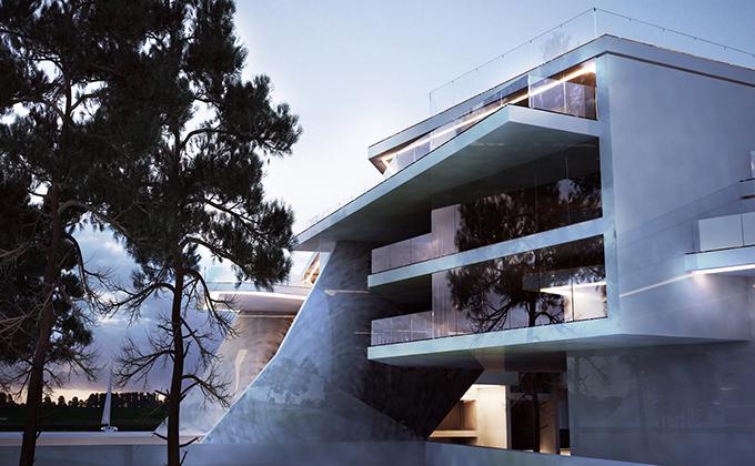 535 Budynek apartamentowo-hotelowy w Berlinie. BAKALARCZYK GRUPA PROJEKTOWA - Architekt Poznań. Widok 2.