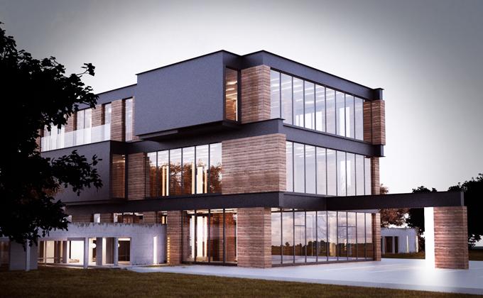 610 Budynek biurowo-usługowy w Poznaniu. BAKALARCZYK GRUPA PROJEKTOWA - Architekt Poznań. Widok od frontu 1.
