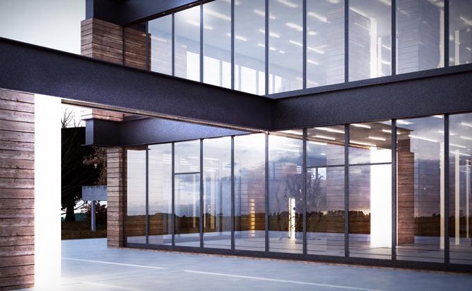 610 Budynek biurowo-usługowy w Poznaniu. BAKALARCZYK GRUPA PROJEKTOWA - Architekt Poznań. Widok od frontu 2.