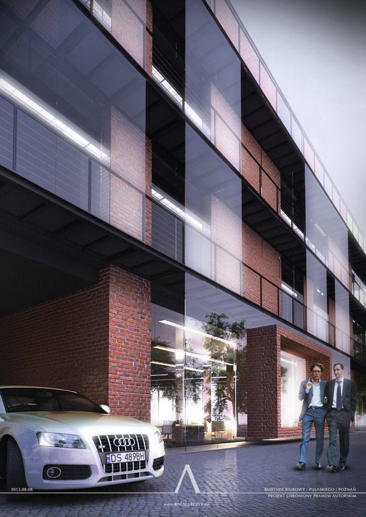 523 Budynek biurowy z częścią usługową w Poznaniu. BAKALARCZYK GRUPA PROJEKTOWA - Architekt Poznań. Widok 2.