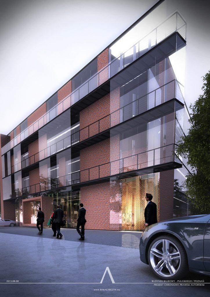 523 Budynek biurowy z częścią usługową w Poznaniu. BAKALARCZYK GRUPA PROJEKTOWA - Architekt Poznań. Widok 1.
