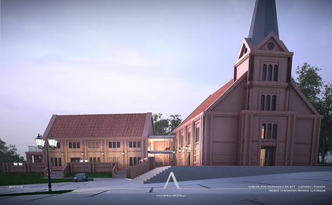 531 Kościół z domem parafialnym w Lusówku. BAKALARCZYK GRUPA PROJEKTOWA - Architekt Poznań. Widok 2.